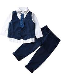 Traje Niño Conjuntos Verano 3 Piezas 1 Camisa con Corbata + 1 Chaleco +1 Pantalones Largos Ropa para Chicos Formal Traje Boda para Niño Disponible de 1 a 7 Años