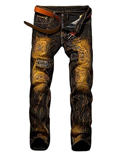 Adelina Herren Jeanshose Farbe Löcher Cher Jeans Jungen Mischfarbe Vintage Motorradhosen Fashion Denim Freizeithose (Color : Aspicture, Size : 36)
