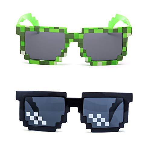 kilofly Sonnenbrille, 8-Bit Pixel, UV-Schutz, für Erwachsene und Kinder, 2 Stück Gr. Einheitsgröße, Black + Green