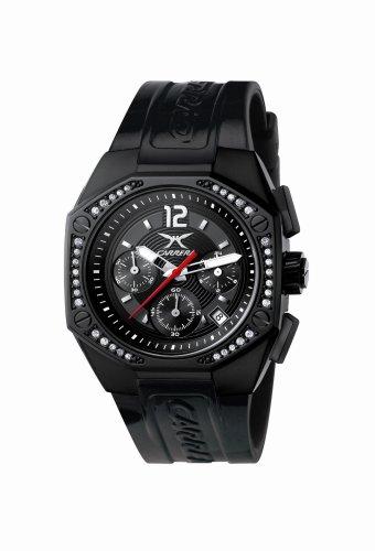 Carrera 4387821 - Reloj cronógrafo de mujer de cuarzo con correa de goma negra (cronómetro) - sumergible a 50 metr