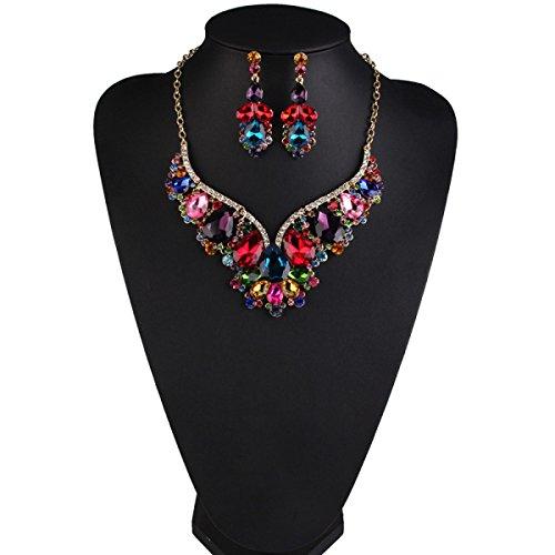 Européens Et Américains Haut De Gamme Costume Collier De Diamants De La Mode De Luxe Multicolore