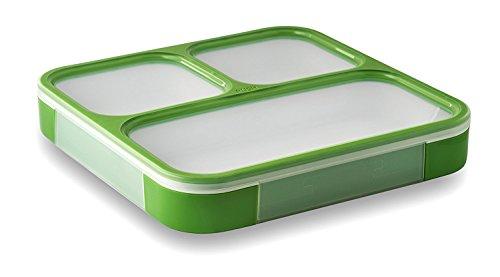 LeOx- Slim Lunchbox drei Fächer Lunchbox Bento Box mit Trennwand Brotdose Aufbewahrungsdose Essen to go Frühstücksdose Food Container Essensbehälter - Grün