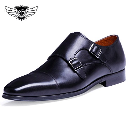 Desai-Mens-Formal-Double-Buckle-Real-Leather-Monk-Strap-pointed-toe-Shoes