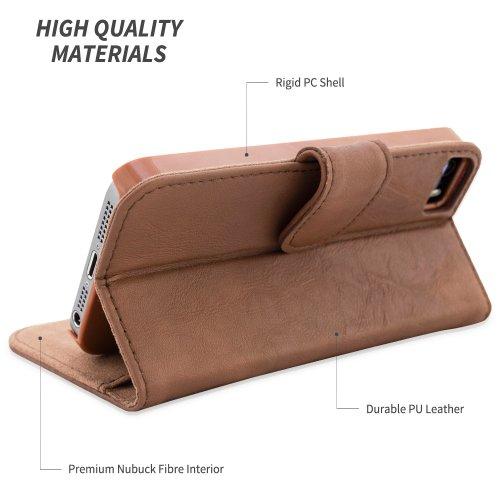 Cover iPhone 4, Snugg Apple iPhone 4 Flip Custodia Case [Slot Per Schede] Pelle Portafoglio Progettazione Esecutiva [Garantita a Vita] - Rosso, Legacy Range Marrone