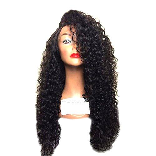 Cosplay Mujer Africana peluca largo rizado pelo sintético Lace Front Peluca Negro peluca 14Inch