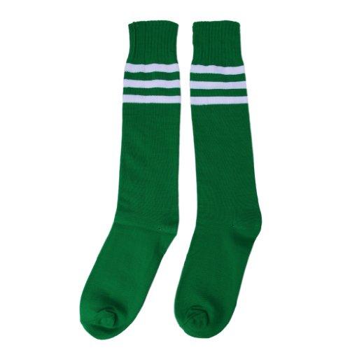 JTC Unisex Fußballstutzen Fußballsocken Fußballstrümpfe Sportsocken, 7 grün weiß Streifen, one size -