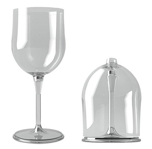 Premium Tragbare Wein Glas von opux | unzerbrechlich, zusammenklappbar, BPA-frei, Spülmaschinenfest | ideal für Camping, Picknicks, Outdoor und Innenbereich With Protective Case farblos