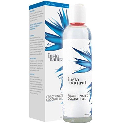 Aceite de Coco Humectante Fraccionado InstaNatural - 100% Puro - Para la cara, cuerpo, cabello y uñas - Ideal para después de afeitarse o depilarse, masajes y aceite de baño para bebés - 240 ml