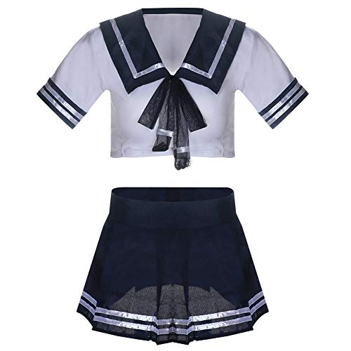 (Sexy Dessous-Uniform Temptation Sailor Suit Student Wear Sexy Nightclub Show Campus Role Play Women es Sexy Naughty School Girl Dress and Stockings)