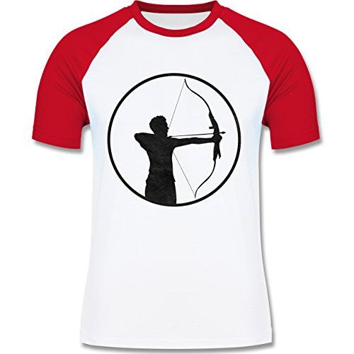 Sonstige Sportarten - Bogenschütze - zweifarbiges Baseballshirt für Männer Weiß/Rot