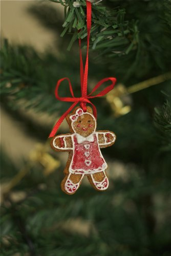 2x Gisela Graham Lebkuchen mini Mädchen Weihnachtsbaum hängende Dekoration Ornament Set von 2