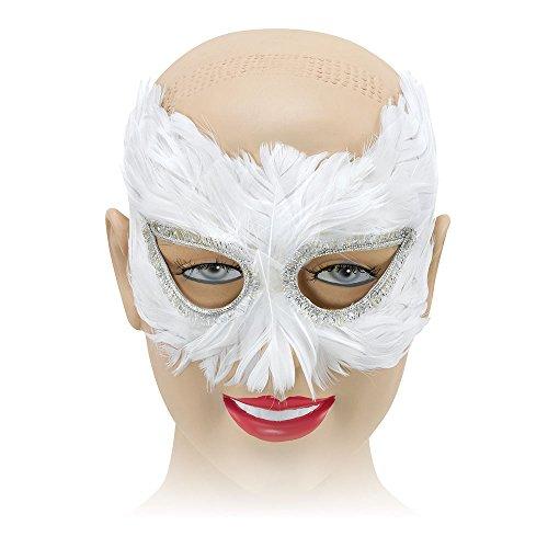 Maskierte Kostüm Weiß - Bristol Novelty EM042 Feder Augenmaske, Weiß, Damen, Einheitsgröße
