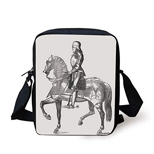 Medieval,Retro Vintage Stylized Illustration of Middle Age Renaissance Knight on The Horse,Grey...