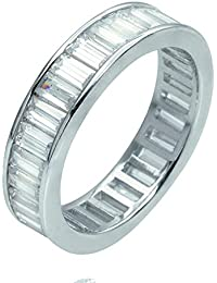 Oferta especial... 4mm 2,25CT F/VS Baguette diamante juego de canal Full Eternity anillo, Platinum