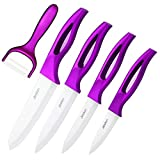 Jeslon Couteaux de Cuisine en céramique 5 en 1 Ensemble Couteaux ceramique Professionnel avec Vestes de Protection, léger Durable, Confortable Poignée Cuisine Anti Slip -4 x Couteaux, 1 x éplucheur
