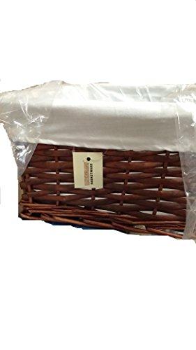 woodluv New Dark Brown Wicker Storage Basket W/Off White Cloth Lining Xmas Hamper-Medium