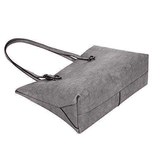 S-ZONE Damen Vintage Echtleder Tote Beutel Schultertasche Handtasche (Kaffee) Grau