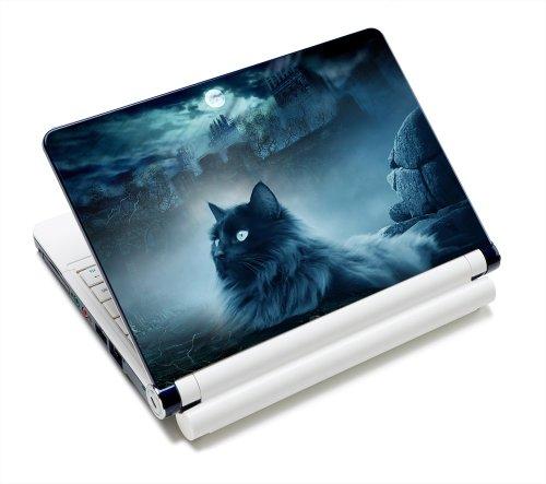 Luxburg® Design Aufkleber Schutzfolie Skin Sticker für Notebook Laptop 10 / 12 / 13 / 14 / 15 Zoll, Motiv: Katze und Felsen - Design Notebook Skin