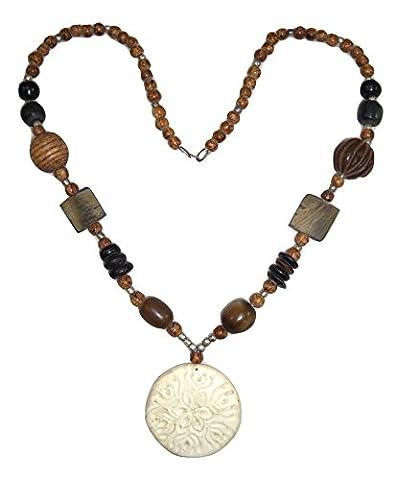 Goethnic Handmade Necklace Carved Animal Bone Pendant Animal-Horn Wood And Metal Beads Tribal Art