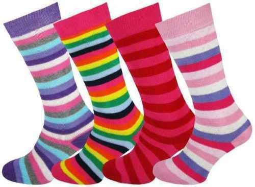 4 x Girls Boys Kids Children Wellington Welly Stripe Design Thermal Ski Warm Long Socks Size UK 12.5-3.5