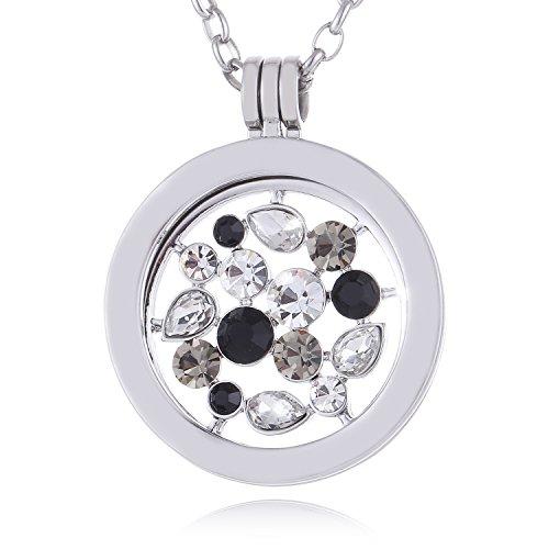 Morella Damen Halskette 70 cm Edelstahl mit Amulett und Coin 33 mm Universum mit Zirkoniasteinen silber in Schmuckbeutel