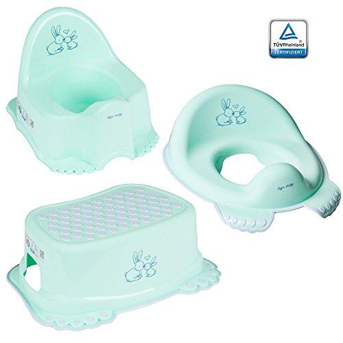 GoFuture 3er Set Toilettentrainer für Kinder – WC-Sitz + Töpfchen + Hocker für Jungen und Mädchen – Alle Teile (Kindertopf, Toilettensitz, Tritthocker) sind zertifiziert und TÜV geprüft Häschen Grün