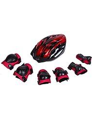 Babimax Casque Enfant Vélo Casque BMX pour Jeunes Equipement Complèt Genouillères Protège-poignets CoudièresSport Cycliste Cyclisme Casque Roller Brillant Rouge Bleu 48 à 58 cm