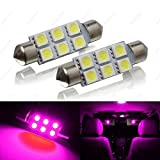 SAWE SAWE - 42MM 6-SMD 5050 Festoon Dome Map Interior LED Light Bulbs Lamp for 211212 211-2 212-2 214-25605695786413 6429 (2 Pieces) (Pink/Purple)