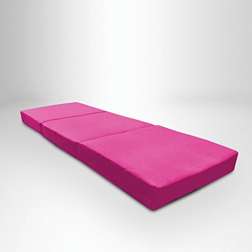Pink Water Resistant Fold Out Z Bed Cube Mattress with Fastening