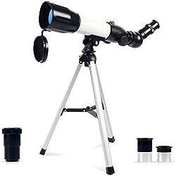 Upchase Télescope Astronomique,Portable Réflecteur, 360/50mm et 3X HD Barlow Lentille, Lunette Astronomiques, avec Trépied, Observer des Etoiles,Lune,Enfants, pour Débutant,Cadeau d'anniversaire