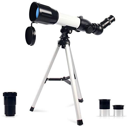 Upchase Astronomisches Teleskop Kinder, 360/50mm Super Klares Teleskop, Tragbares Refraktor Teleskop, für Kinder, Einsteiger, Amateur-Astronomen, Beobachtung von Himmel und Landschaft(Geschenk)