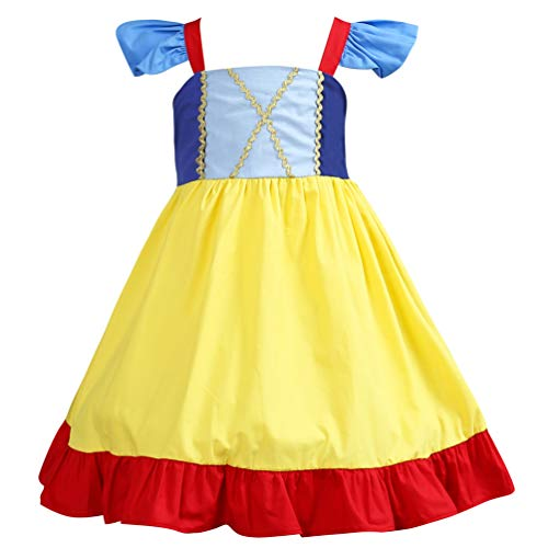 Kinder Baumwollkleider Prinzessin Alice Schnee Kostüm Rapunzel Kostüm Halloween Geburtstag Outfit, gelb (Up Dress Anna)