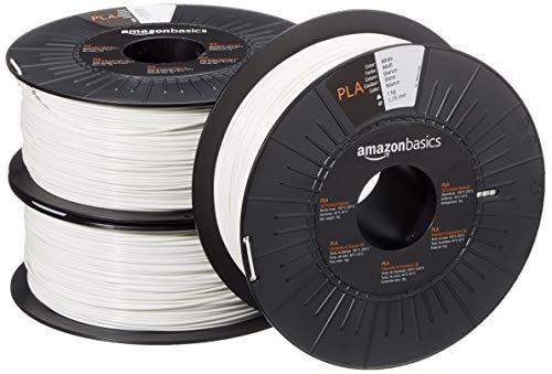 AmazonBasics - Filamento para impresora 3D, ácido poliláctico (PLA), 1,75 mm, 3 cintas de 1 kg cada una, blanco