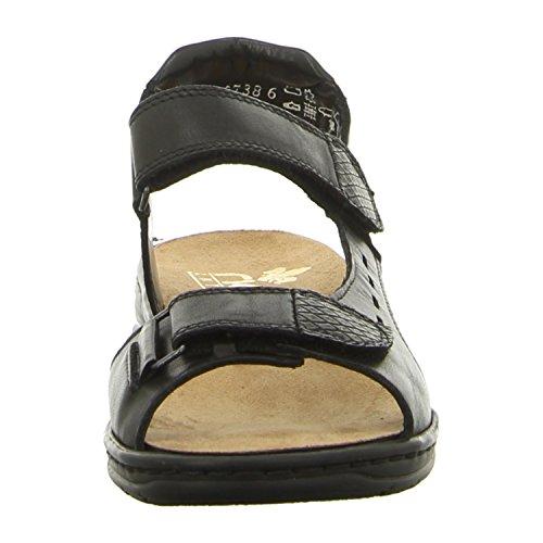 Rieker , chaussures compensées femme Schwarz/Granit