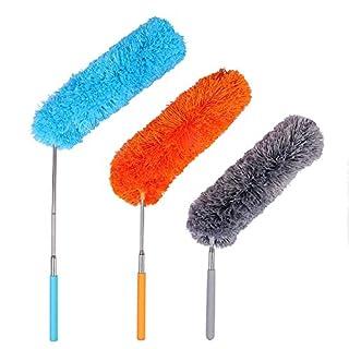 Plumeau Poussière,Plumeau Microfibre avec Poteau Extensible Pliable pour la Maison le Bureau et les Voitures 3packs
