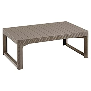 Allibert by Keter Wicker Effect Lyon 2-in-1 Outdoor Garden Dining/Coffee Table - Cappuccino