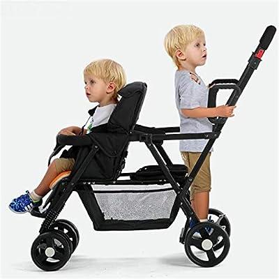 BABIFIS Can Sit Can Lie Cochecito para Dos niños Cochecito en tándem, Cochecito de Gemelos Plegable