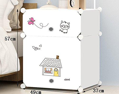Flashing-DIY Multifonction en résine ABS Cabinet de lit en plastique, simple Cabinet de chevet moderne avec portes, casiers simples Armoires de rangement mini avec des autocollants ( taille : 49*37*57cm )