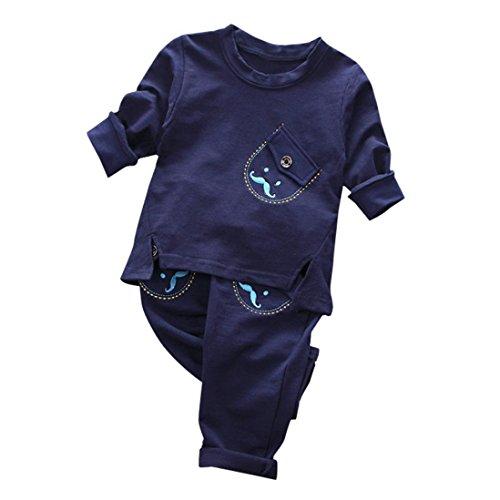 Kostenlose Kinder Sweatshirt (SUCES Neugeborene Strampler Familie Kleider Baby Lange Ärmel Babykleidung Baby Anziehsachen Kleinkind Kind Jungen Streifen Pullovers T-ShirtTops + Hosen Kleider Set Niedlich Outfits (12M, Dark Blue))