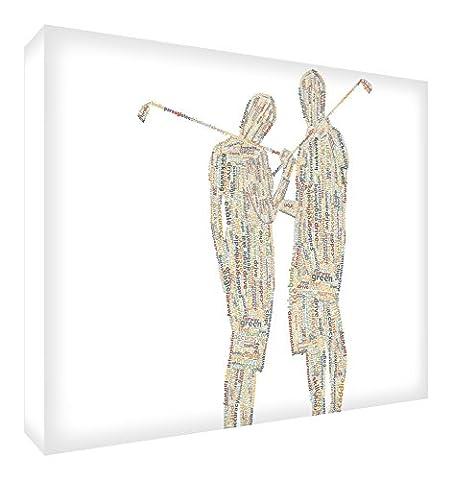 Feel Good Art Galerie enveloppé de typographie Boîte Toile en couple de Golf Design (60x 40x 4cm, grand, tons neutres)