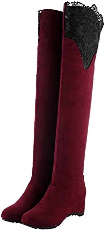 Minetom Mujer Otoño Elegante Encaje Decoración Botas Largas Rodilla Botas Tacón Plano Encima Rodilla Zapatos
