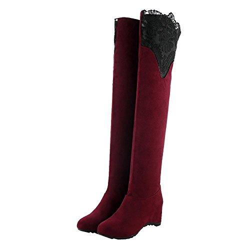 Minetom Damen Herbst Elegant Spitze Dekoration Lange Stiefel Knie Hoch Stiefel Flache Ferse Über Knie Schuhe Rot EU (Frauen Red Stiefel Knie Für Hohe)