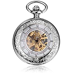 Besseron Roman Half Hunter White Brass Case Mechanical Open Face Retro Pendant Pocket Watch with Long Chain + Gift Box