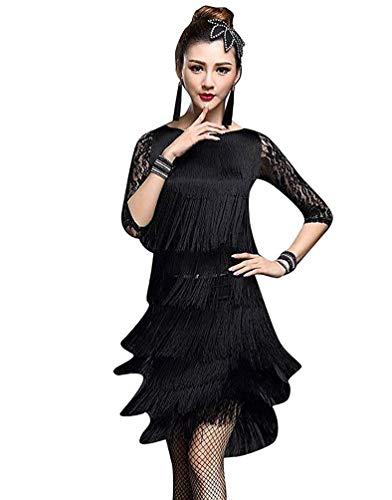Fuweiencore costume da ballo latino salsa dance tango costume da ballo frangia nappe pizzo (colore : nero, dimensione : l)