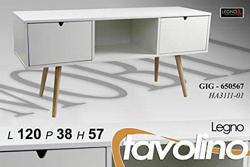 Mobile porta tv moderno serie living h57*120*38 bianco legno