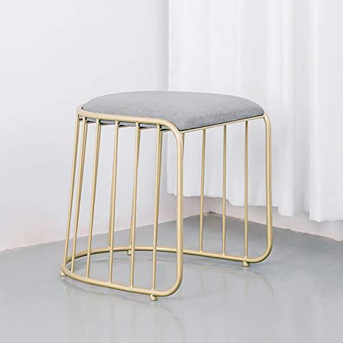 Stuhl Eisengitter Hohl Mode Licht Luxus Metallskelett Wohnzimmer Party Lesen Make-up Gold Zwei Möglichkeiten,Without chair back -