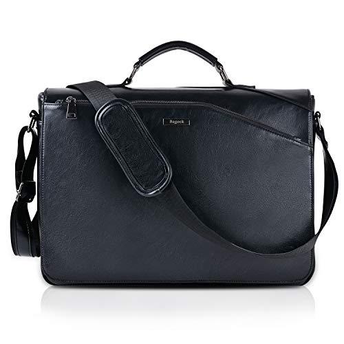 e Herren Taschen Schwarz Messenger Bag 15.6'' Laptoptasche Schultertasche Aktentasche PU Leder Herren Taschen Kunstleder Handtasche ()