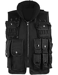 Pellor Gilet de combat nylon tactique militaire Game Cosplay veste de protection Equipement CS gilet de police multipoches pour enfant 6ans à 12ans