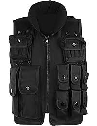 Pellor Gilet de Combat Nylon Tactique Militaire Game Cosplay Veste de Protection Equipement CS Gilet de Police Multipoches pour Enfant 5ans à 12ans
