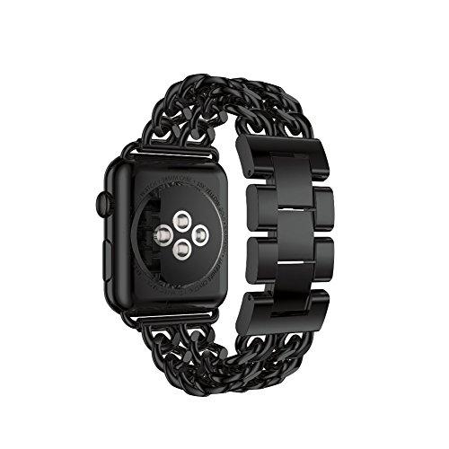 Apple Watch Armband 42mm Edelstahl uhrenarmband Replacement Schlaufe Smart Watch Armbänder mit Metallschließe für Apple Watch 42mm Series 3 / 2 / 1